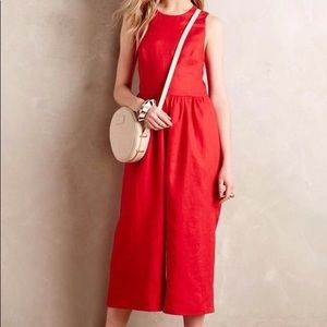 NWT Anthropologie Kolonaki red linen jumpsuit.